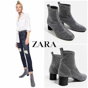 🆕 Zara Metallic Silver Sock Ankle Booties